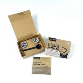 ΝΕΑ ΣΥΣΚΕΥΑΣΙΑ - Σετ με 2 επαναγεμιζόμενες κάψουλες και 120 τεμάχια Espresso Lids