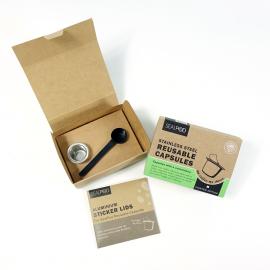 ΝΕΑ ΣΥΣΚΕΥΑΣΙΑ - Βασικό πακέτο (1 κάψουλα με 100 τεμάχια αυτοκόλλητα Espresso) Lids